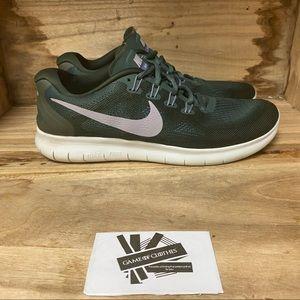 Nike free run green white running sneakers shoes